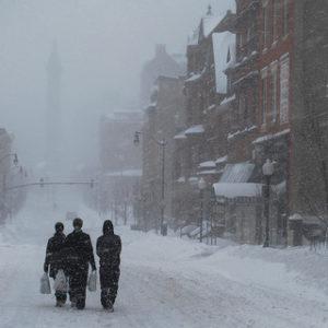 Charles Street, mid-blizzard