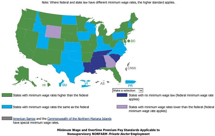 US Minimum Wage Laws - Jan 1 2015